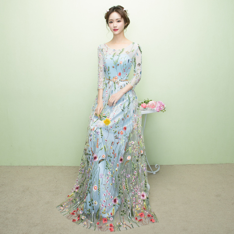 Mrs Win 2019 New O-neck A-line Long Sleeve Evening Dress Light Blue Evening Dress  For Wedding Party Vestidos De Festa