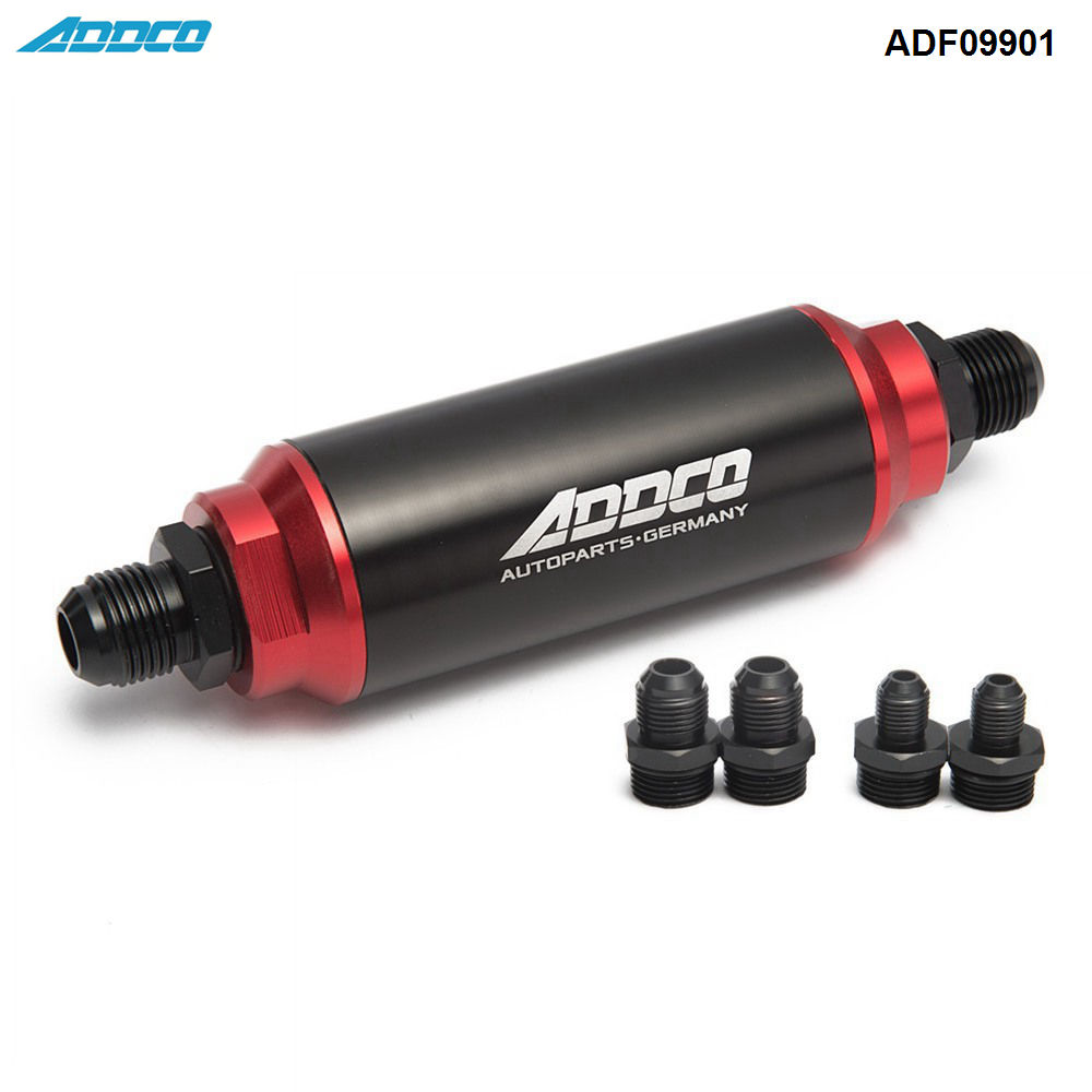Hi-Flow Performance Fuel Filter Black & Red w AN10 AN8 AN6 Adapter 40 Micron ADF09901