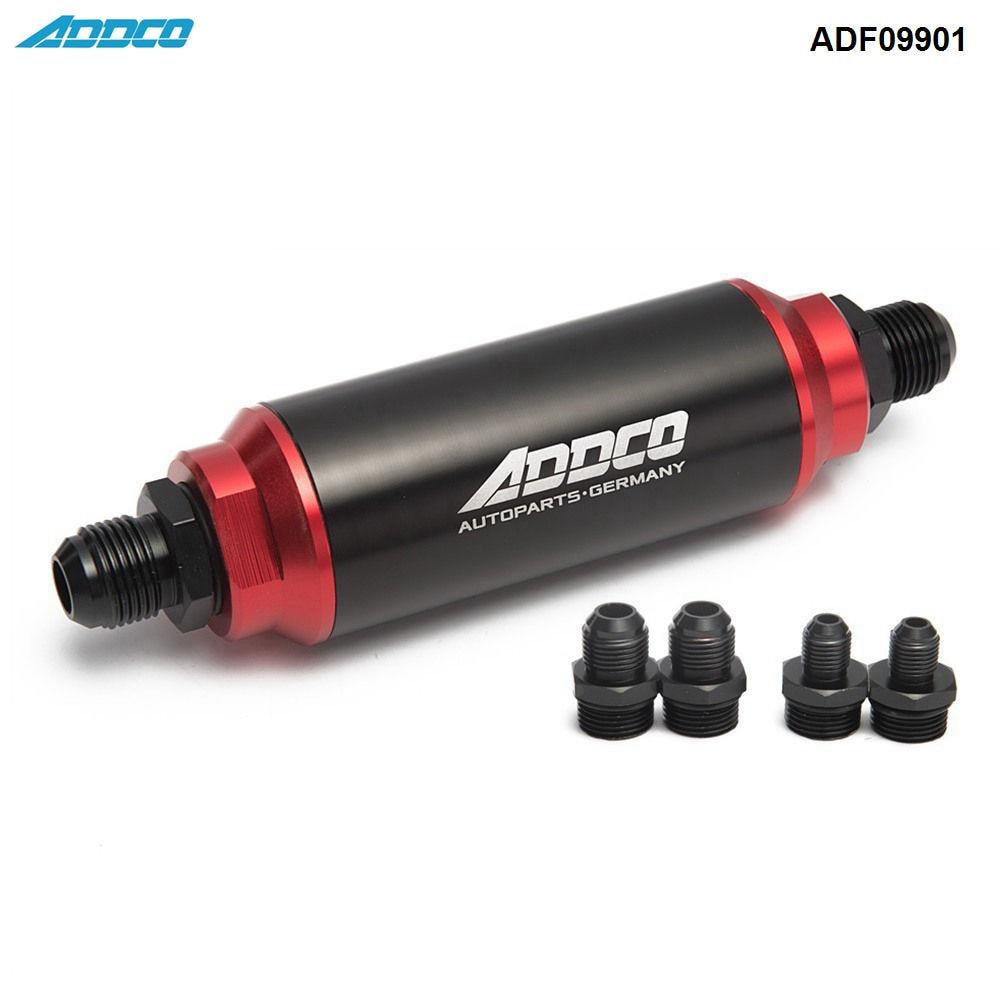 Hi-Flow Performance Fuel Filter Black & Red w AN10 AN8 AN6 Adapter 40 Micron ADF09901 lzone racing an 6 an6 black anodised billet fuel filter 30 micron jr slf0209 06