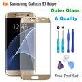 Una calidad + touch panel de vidrio exterior para samsung galaxy s7 borde G935F G935A Lente de Cristal Frontal de Reemplazo de Pantalla LCD Con Logo