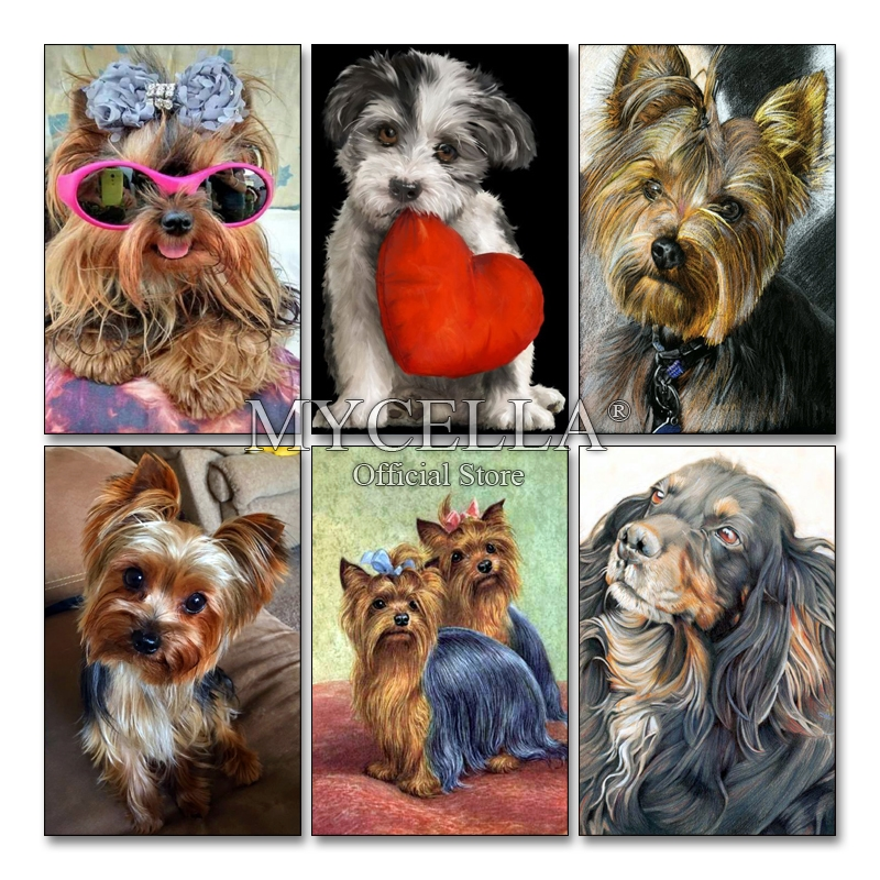 Yorkshire Terrier Full 5D Diy Diamond Painting Cute Dog Diamond Embroidery Cross Stitch Rhinestone Diamond Mosaic Home Decor in Diamond Painting Cross Stitch from Home Garden