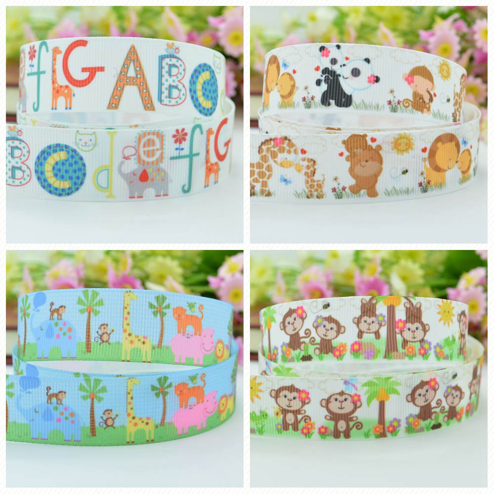 Girls' Clothing Mother & Kids Duwes 7/8 22mm 2 5 10 20 50 Yards Elephant Monkey Cute Animal Printed Grosgrain Ribbon Hair Bow Diy Handmade Retail