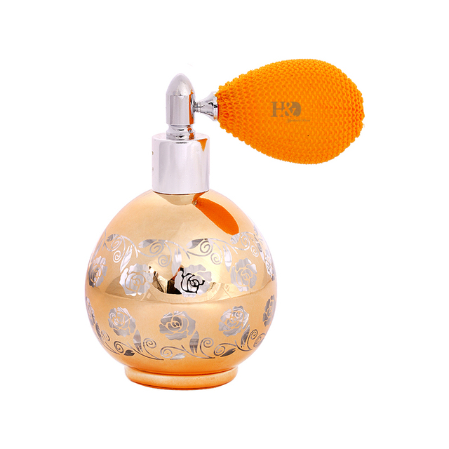 60ml Handmade Vintage Rose Empty Glass rystal Metal  Spray Refillable  erfume Bottles  Atomizer Spray  Short Pump Wedding Gifts