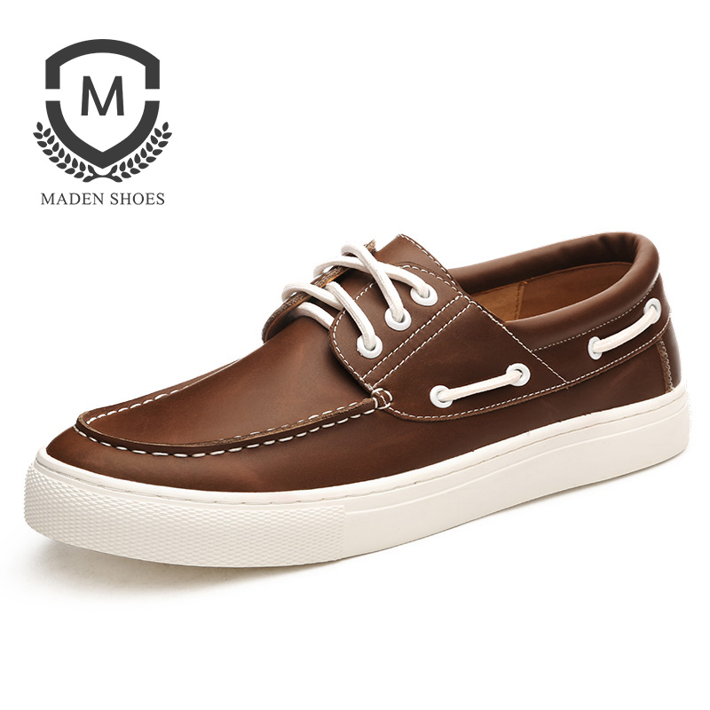 Maden Brand 2017 Autumn New Boat shoes Handmade high quality leather Mens Casual Shoes Lace Up Classic Comfortable Driving Shoes maden brand 2017 spring autumn designer fashion mens casual shoes lace up comfortable suede driving shoes breathable male shoes