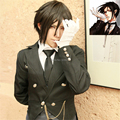 Japan Anime Black Butler Cheap Cosplay Costume Wigs Kuroshitsuji Sebastian Michaelis 35cm Short Black Straight Natural Hair Wigs