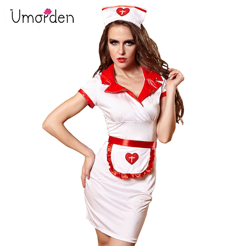 Halloween Costume Women White Sexy Nurse Costume Cosplay Uniform Clothes Dress and Hat for Women