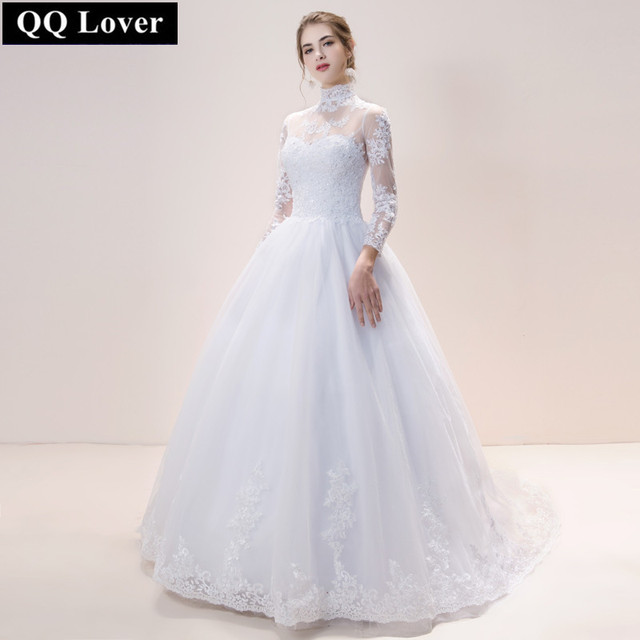 QQ Lover High Neck Long Sleeve Lace Wedding Dress 2019 Wedding Gowns Custom-made Vestido De Noiva
