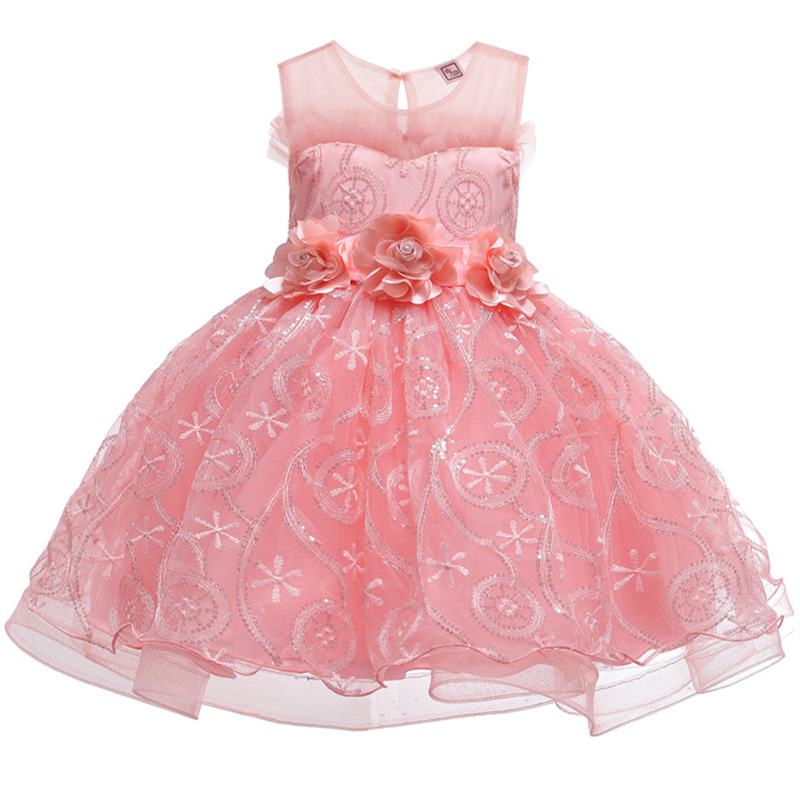 New Style Flower Girls Wedding Party Dresses Girls Attend Eucharist Party First Exchange Ball Sequins Embroidered Dresses
