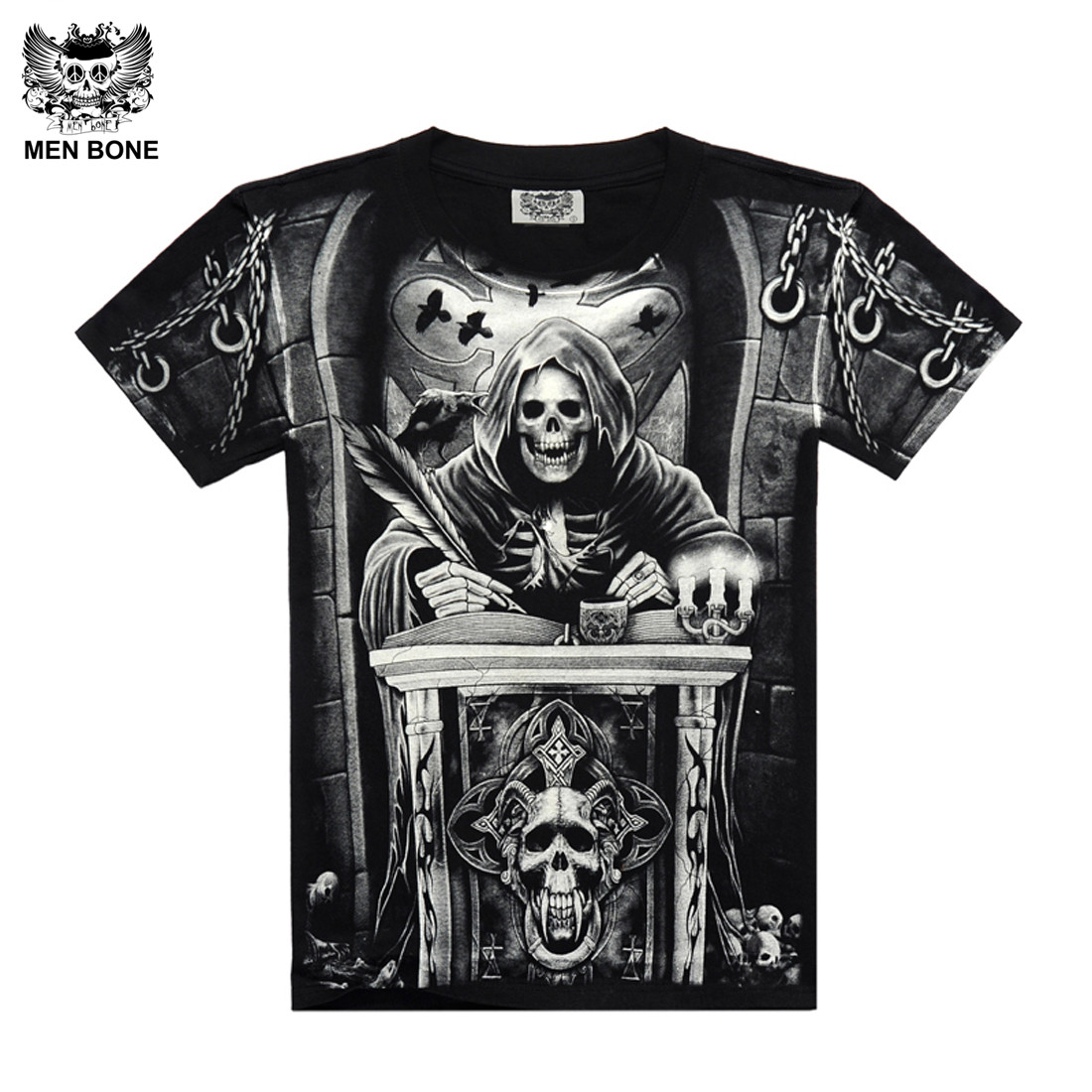 [Men bone] Heavy Metal Style onverbiddelijke Reaper skull Tshirt zwart Zwart Print shirt Hip Hop street rock heavy metal mouw