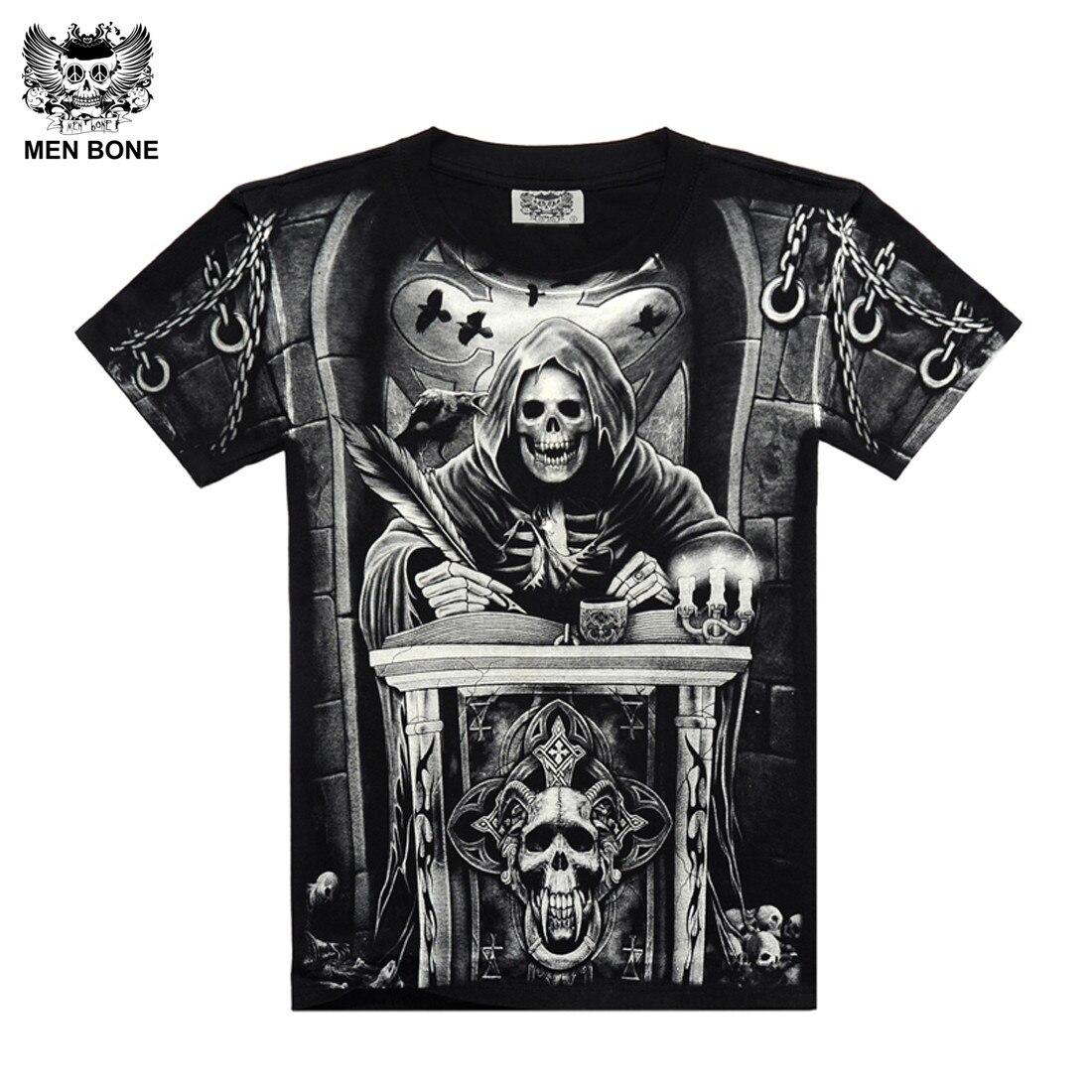 Uomini bone  Stile Heavy Metal grim Reaper skull Maglietta nera Nero  Stampa camicia Hip Hop di strada rock heavy metal maniche ca1e9ce70572