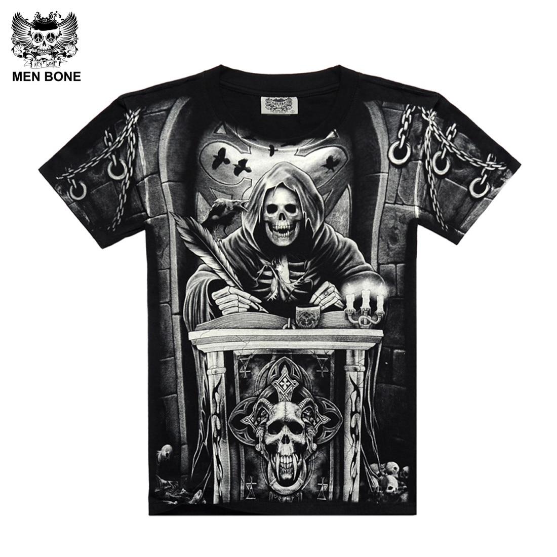 8cf2bf8a8 [Men bone] Heavy Metal Style grim Reaper skull Tshirt black Black Print  shirt Hip Hop street rock heavy metal sleeve