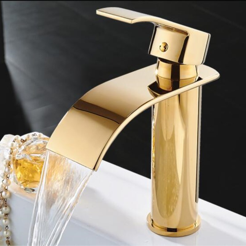 Free shipping arrival high quality Gold finished cold and hot single lever bathroom sink faucet mixer basin faucet. new arrival chrome gold black red finished bathroom high single lever hot and cold sink faucet basin tap mixer