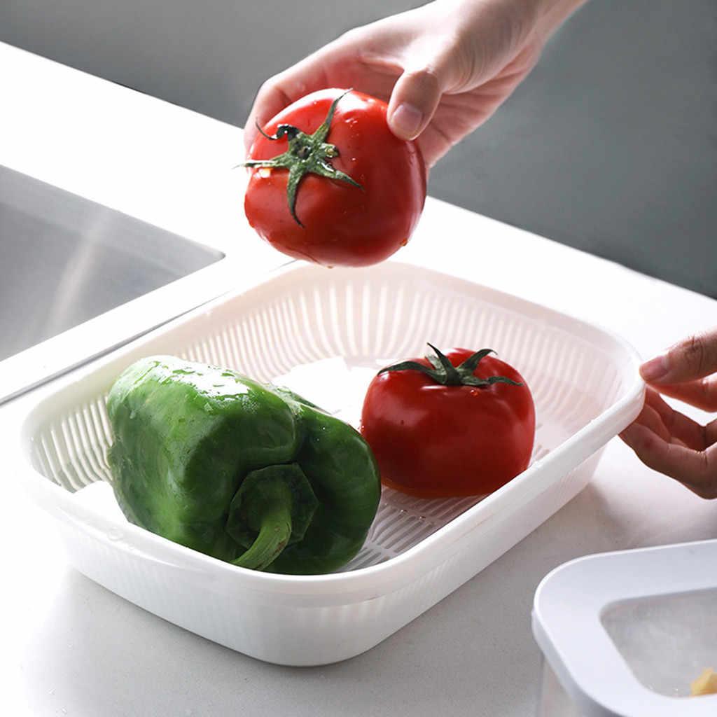 Food Grade Plastica di Lavaggio Filtro A Cestello Verde Rosa di Colore Per La Pulizia Gadget di Scarico Quadrato Scatola Sigillata Zenzero Aglio Cipolla Cibo