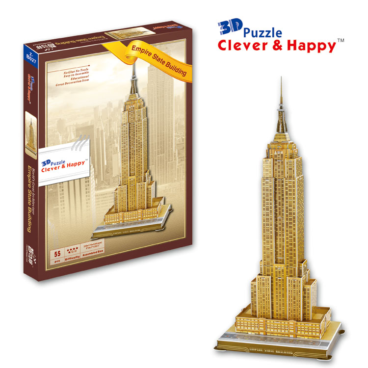 Candice guo 3D paper puzzle assemble model DIY toy empire state building US New York edifice birthday gift christmas present 1pc series s 3d puzzle paper diy papercraft double decker bus eiffel tower titanic tower bridge empire state building