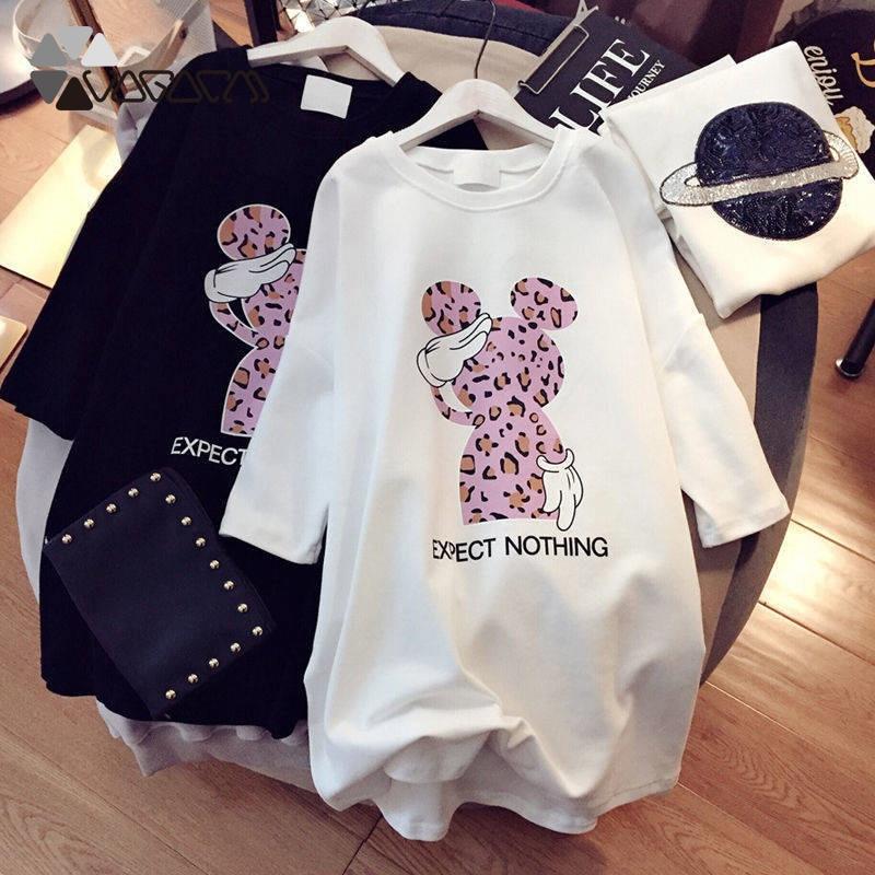 Women Cartoon Plus Size Dresses Minnie Mickey Short Sleeve Black White Casual Mini Fashion Loose Summer Dress Leopard Chic