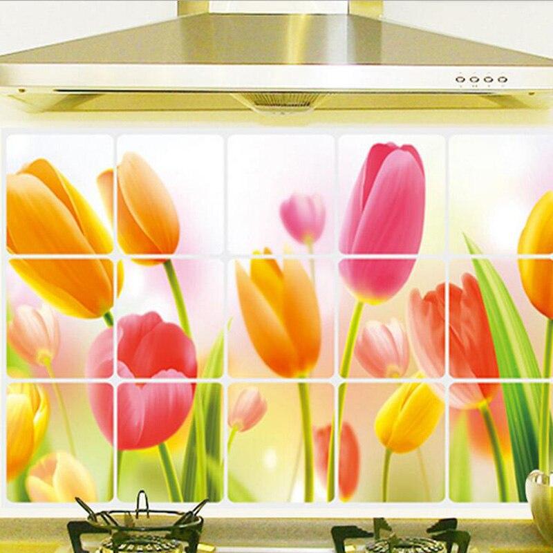 Cuisine Creative Anti Huile Stickers Muraux Belle Tulipe Fleurs Motif
