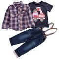 Детская одежда устанавливает 2017 Весна Осень мальчик костюм С Длинным рукавом плед рубашки + автомобиль печати футболка + джинсы 3 шт. набор костюм розничная