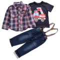 Children clothing sets 2017 Spring Autumn Baby boy suit Long sleeve plaid shirts+car printing t-shirt+jeans 3pcs suit set retail