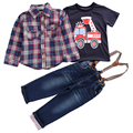 Conjuntos de roupas crianças 2017 Primavera Outono Bebê menino terno impressão t-camisa de manga Longa camisas xadrez + carro + calças de brim 3 pcs conjunto terno varejo