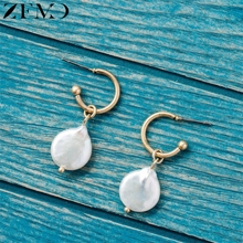 ZEMO Korean Natural Baroque Stone Pearl Dangling Earrings Womens Rose Gold Alien Shape Drop  Unique Design Ear Jewelry