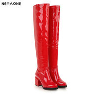 NEMAONE Women over the knee Boots 7cm High Heels patent leather ladies boots Fashion Women Party Shoes large Size 45 46 47 48