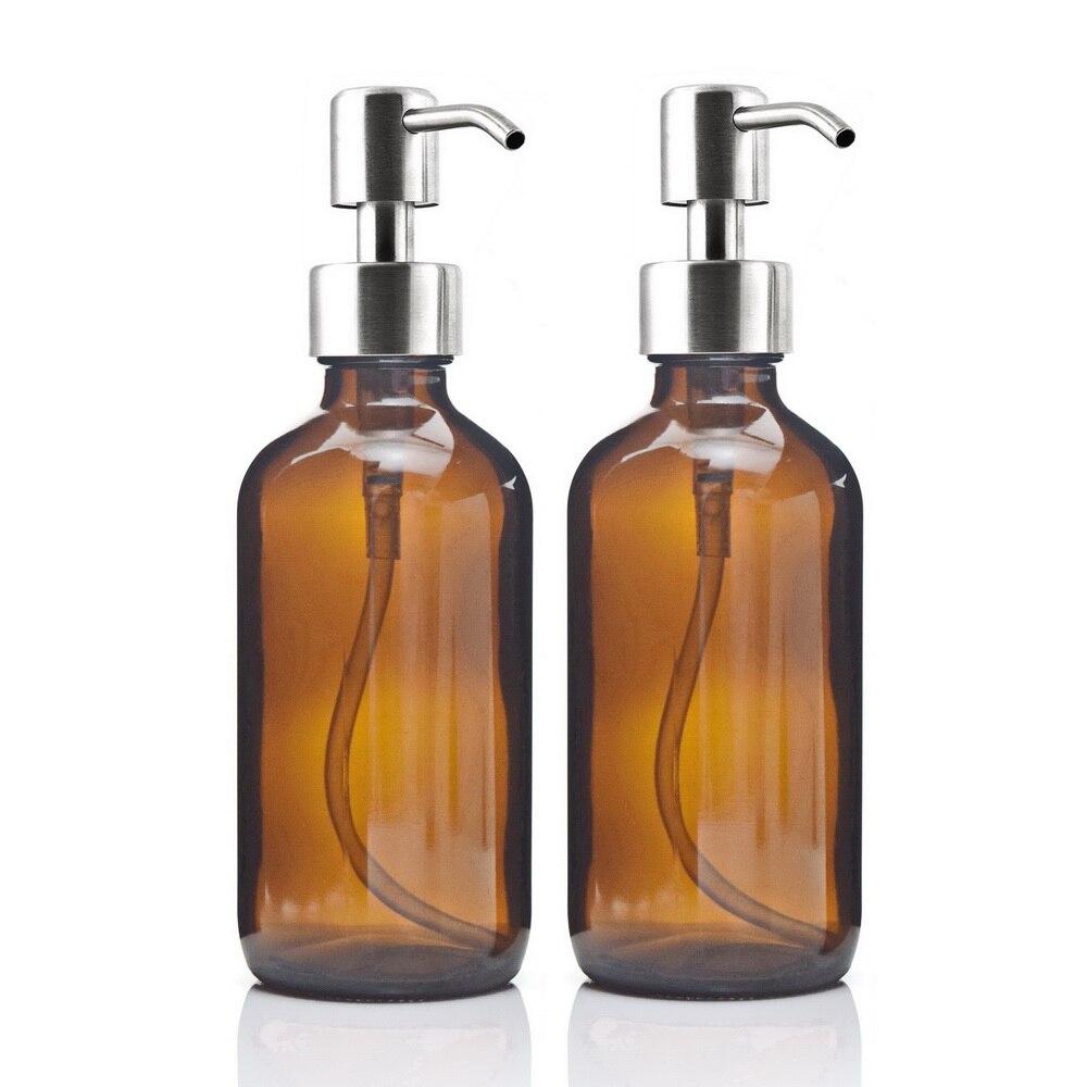 8 Oz كبير 250 مللي بخاخ صابون سائل مع مضخة الفولاذ المقاومة للصدأ للزيوت العطرية المستحضرات محلية الصنع زجاجات من الزجاج الكهرماني