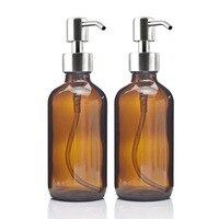 8 Oz Grande 250 ml Dispensadores de Jabón Líquido con Bomba De Acero Inoxidable para aceites esenciales caseros lociones de vidrio ámbar ronda botellas