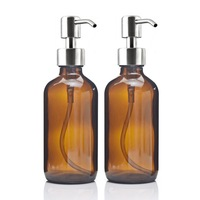 8 Oz Grote 250 ml Vloeibare Zeep Dispensers met Rvs Pomp voor essentiële oliën zelfgemaakte lotions ronde amber glas flessen
