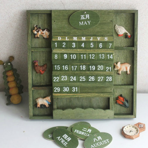 Cute Vintage American Country Style Hanging Wall Calendar Handmade Wooden  Animal Home Decor for Gift(
