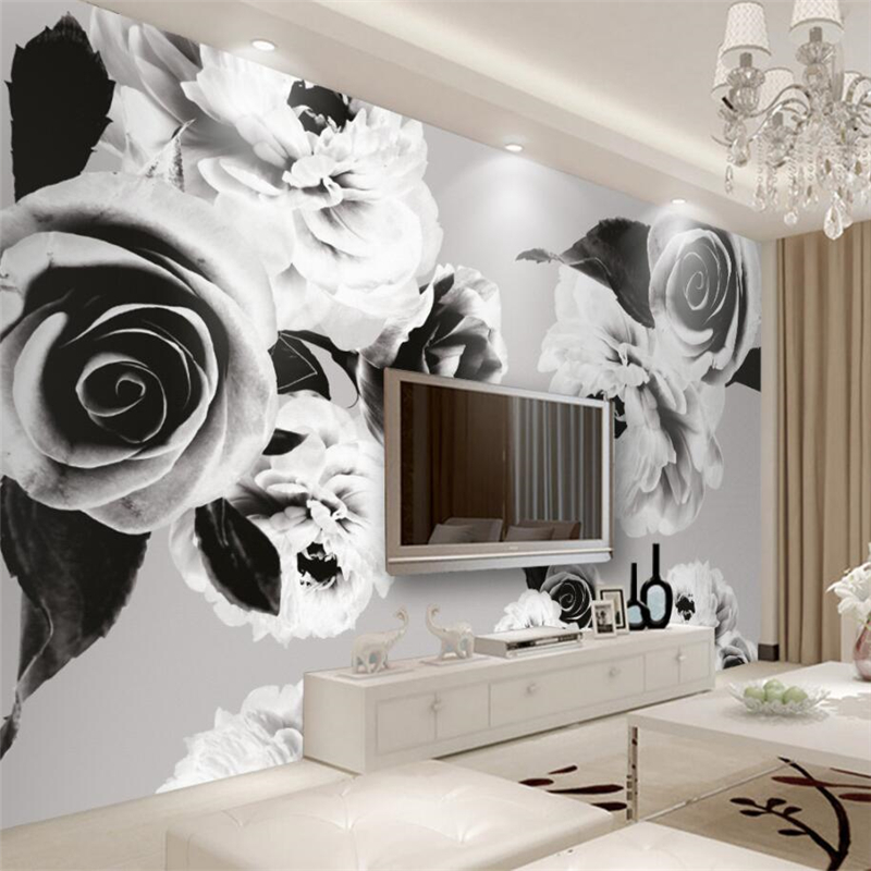 beibehang Custom 3d wall paper European only black and white flowers wallpaper sofa living room bedroom tv backdrop wall decor horton prostaglandins and the kidney paper only
