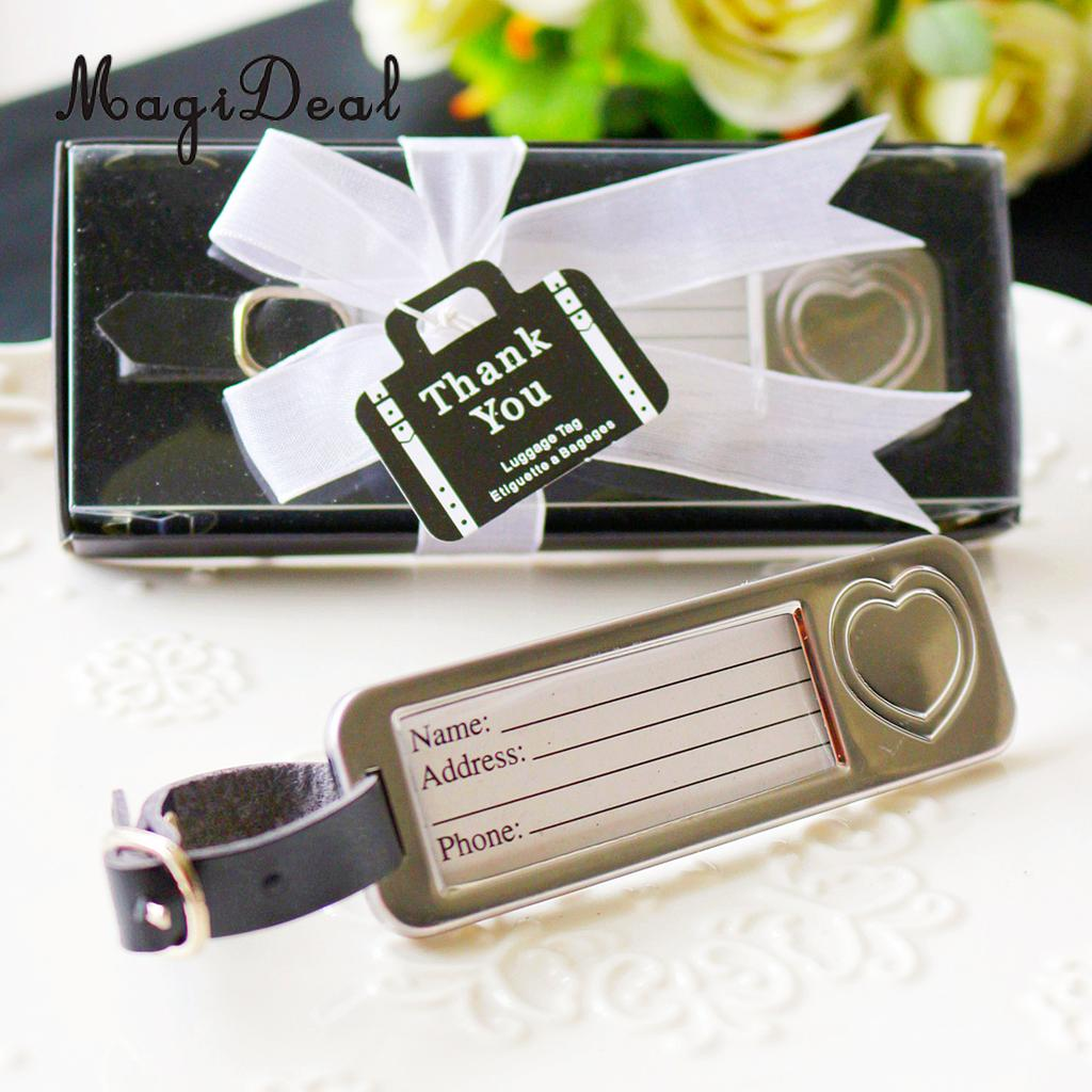 Silver Metal Love Heart Luggage Tag with Box Wedding Bomboniere Party Gift Favors