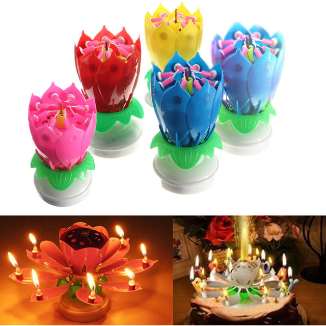 Flower Christmas Birthday Decorative Candles Amazing Romantic Musical Lotus Rotating Happy For Cake