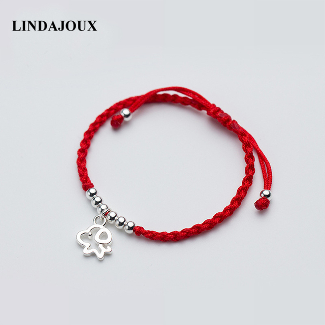Lindajoux 925 Sterling Silver Cute Hollow Dog Charm Braided Red String Thread Bracelet For Women Adjule