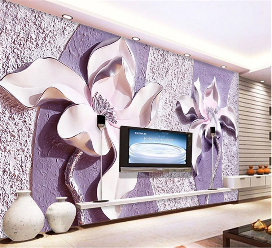 Custom any size mural wallpaper 3d relief purple magnolia for Custom size wall mural