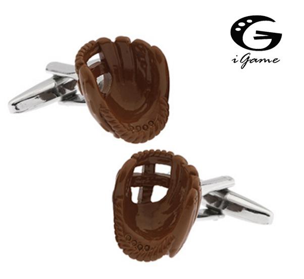 Igame Men's Cufflinks Novelty Color Baseball Gloves Design Brass Material