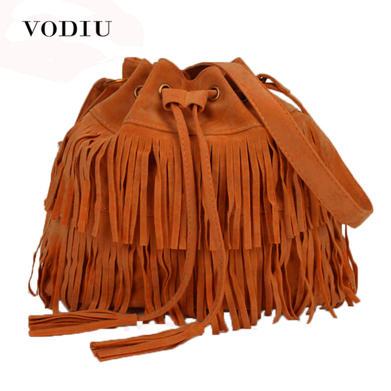 Women Bag Handväskor Tote Over Shoulder Crossbody Sling Sommar Tassel Purses Suede Fringe Big Cool Kvinna Drawstring Motorcycle