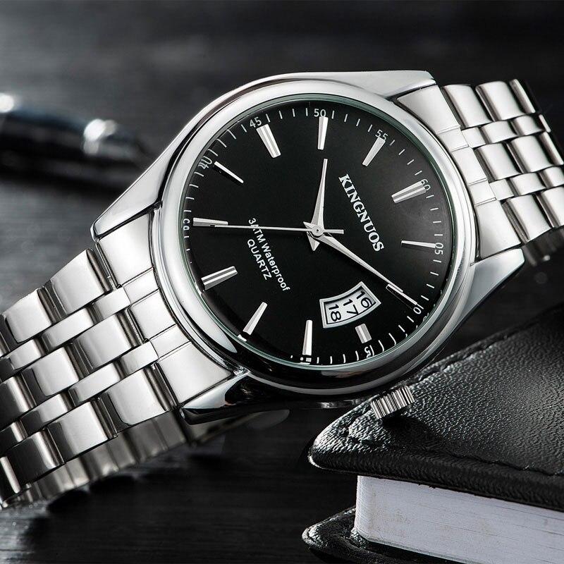 KINGNUOS Armbanduhr Männer Uhren Top Luxus Marke Männliche Uhr Edelstahl Quarz Armbanduhr Für Männer Hodinky Relogio Masculino