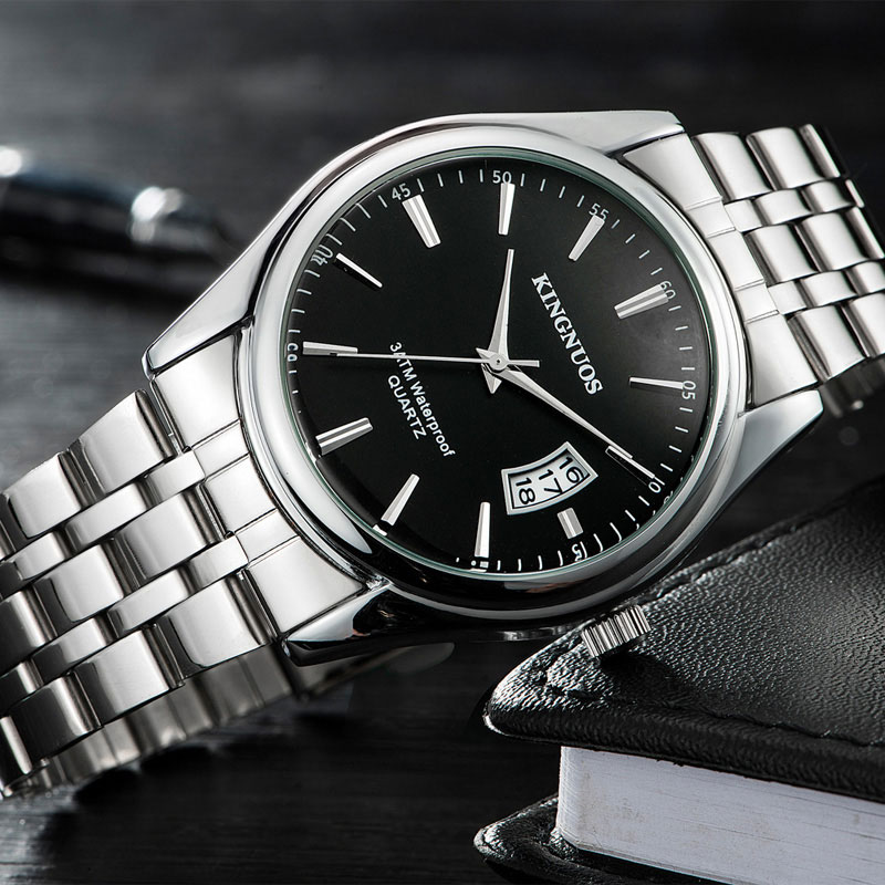 KINGNUOS Wrist Watch Men Watches Top Luxury Brand Male Clock Stainless Steel Quartz WristWatch For Men Hodinky Relogio Masculino