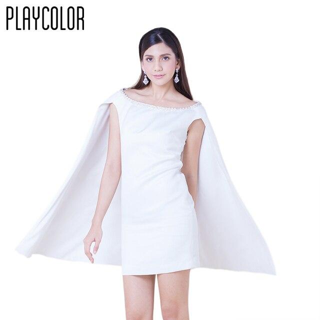 a754fe75a PLAYCOLOR Blanco Cortos Vestidos de Coctel de Las Mujeres Vestidos de Capa  para Chicas Del Club