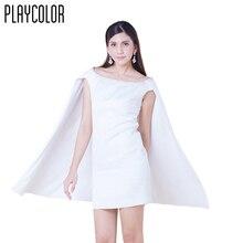 PLAYCOLOR Blanco Cortos Vestidos de Coctel de Las Mujeres Vestidos de Capa para Chicas Del Club de Vestidos de Cóctel Tamaño Del Enchufe Custom-Made_PD1706MM6