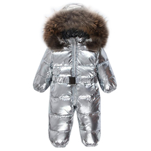 Baby Winter Rompers Down Waterproof  Jumpsuit Baby Girl Rompers Silvery Hooded Children Jumpsuit Infant Boy Snowsuit Overalls