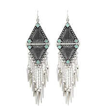 Fashion 2016 New Arrival Punk Women Ethnic Vintage Silver Plated Tassels Chunky Statement Drop Long Earrings