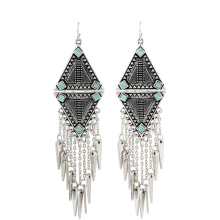 Fashion 2017 New Arrival Punk Women Ethnic Vintage Silver Plated Tassels Chunky Statement Drop Long Earrings