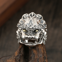 S925 sterling silver ring jewelry Domineering animal tide male personality open Thai ring цена