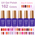 6 colores/pack nail gel polaco Francés Del Clavo 15 ml nude uv gel laca de larga duración empapa del led/uv gel laca