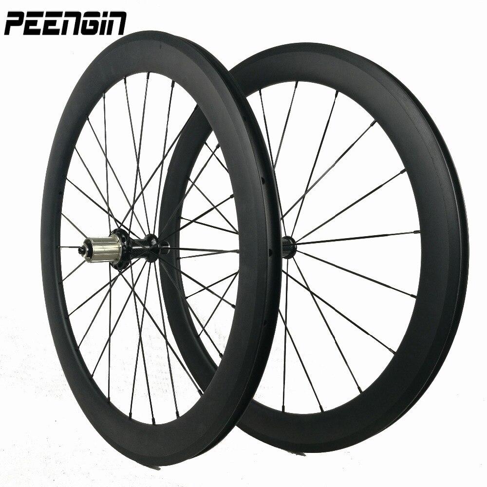 650C petit vélo de carbone tubulaire roue enclume de roues pour vélo de route racing/tour de formation avec la lumière portant hubs Aero parle