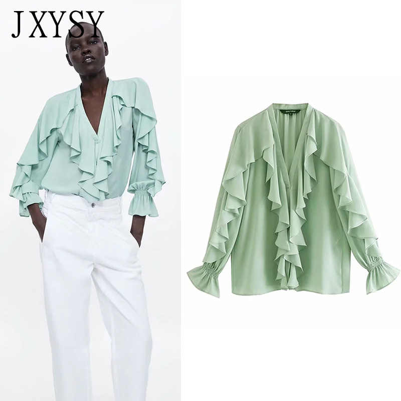 JXYSY blusas mujer de moda 2019 england style cotton polyester ruffles puff sleeve kimono blouse womens tops and blouses