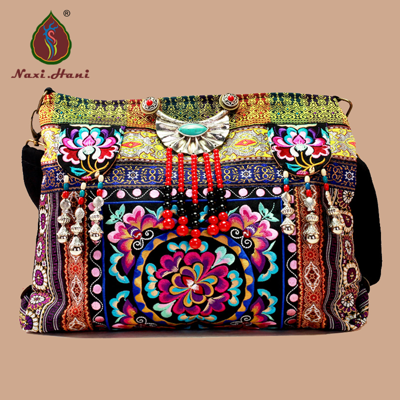 Newest Hmong canvas embroidery bags Vintage handmade beaded Women messenger bags Ethnic brand tassel large women bags original ethnic embroidered women handbag vintage handmade tassel shoulder bags black canvas casual large bags