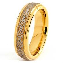 Индивидуальные 6 мм Ирландский Узел Золото титана обручальное кольцо США Размер 3-18 (# TR08GC)