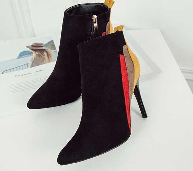 4 COLOES YENI Sonbahar Kış Kalın Topuklu Yüksek Kaliteli Katı dantel-up PU Moda bayan Botları Kalın Topuklu ve yeni stil Çizmeler 35-41